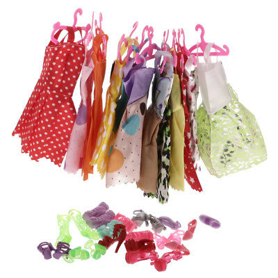 Handmade 24Pcs Doll Clothes Skirts Hangers & 12 Pairs Shoes For Barbie