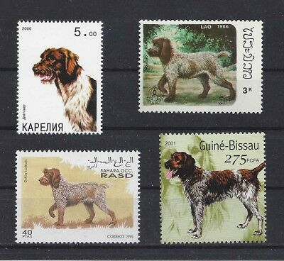 Dog Art Postage Stamp GERMAN WIREHAIRED POINTER POINTING GRIFFON 4 x MNH