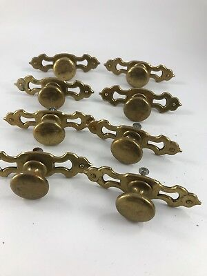 Set Of 8 Vintage Brass Colored Metal Drawer Or Cabinet Knobs With Back Plates