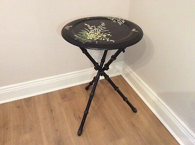 Victorian Ebonised Faux Bamboo Side Table.