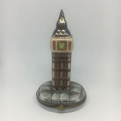 Vintage Signed Limoges France Peint Main Trinket Box Big Ben Clock Tower London