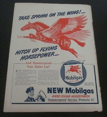 "1946 original ad Mobil gas & oil Flying Red Horse ""Take Spring on the Wing!"""