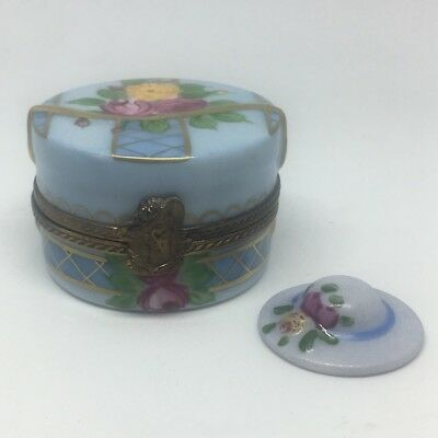 Vintage French Signed Limoges France Peint Main Trinket Box Figural Hat Box