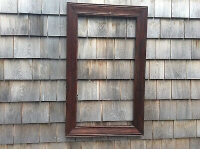 Antique Dark Solid Oak Arts & Crafts Mission Picture Mirror Frame 18X30