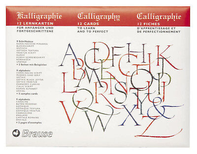 Brause Calligraphy Practice Cards, 9 Alphabets