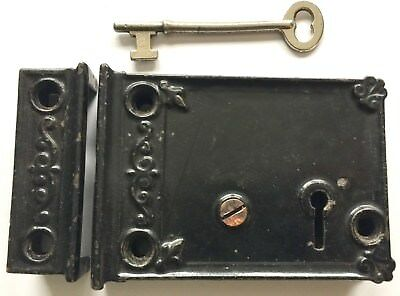 Antique Original Circa 1870 Norwalk Ornate Door Rim Lock & Catch Plate Set & Key
