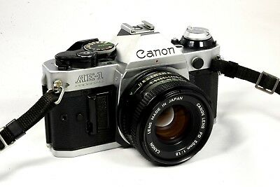 Vintage Canon AE-1 Program 35mm SLR Camera with 50mm f/1.8 Lens - Good
