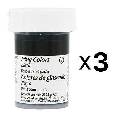 Wilton Icing Colors - Black Concentrated Paste 1 oz. Jar (3-Pack)