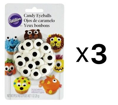 Wilton Large Candy Eyeballs - Cake Cookie Cupcake Icing Decorations (3-Pack)