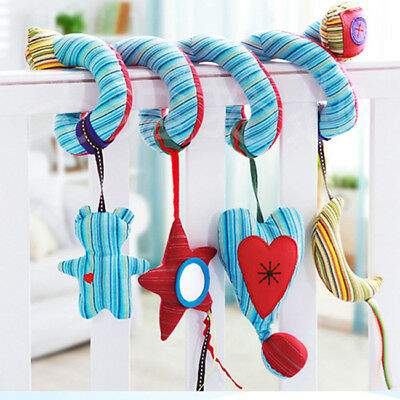Baby Stroller Infant Bed Hanging Bell Rattle Crib Plush Spiral Toy Gift Z