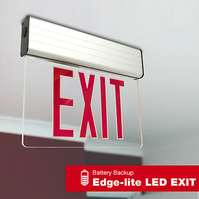 LED Exit Sign Emergency Light – Hi Output RED Compact Combo UL FD10AECR