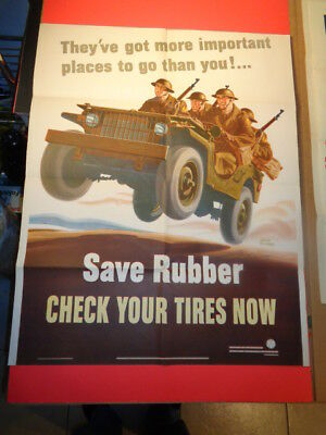 "Original 1942 WWII Poster ""Save Rubber - Check Your Tires Now"" (22 by 28"")"