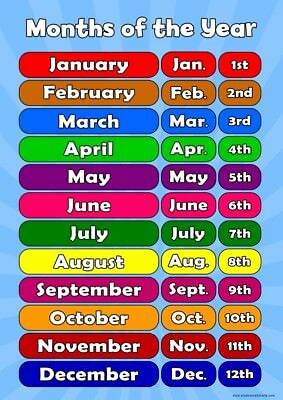 A3 Months of Year - Childrens A3 Wall Chart Educational Childs Poster Classroom