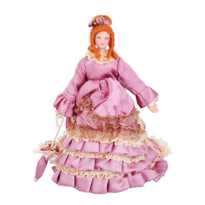 1/12 Dollhouse Mini Porcelain Doll Victorian Lady in Gown Figures Display