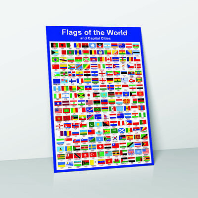 Flags Of The World & Capital Cities Learn Childrens Poster Wall Chart Flag
