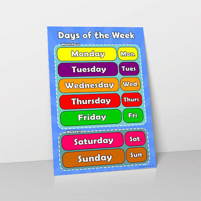 Days Of The Week Learn Childrens Poster Wall Chart Classroom Teacher