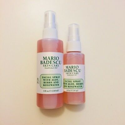 2x Mario Badescu Facial Spray with Aloe and Rosewater, 2 bottles (4 and 2 fl oz)