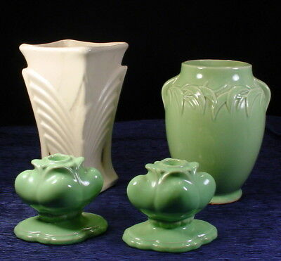 2 Vintage Mccoy Vases 8 14 Green 9 Off White And Pair Green