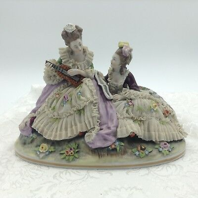Antique Capodimonte Lace Musicians Group 2 Women Ladies Figurine Figure Flowers