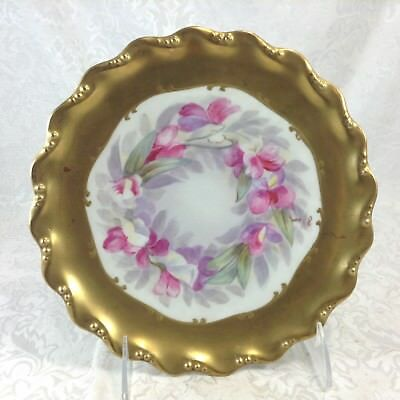 Antique Limoges France Blakeman & Henderson Gold Border Hand Painted Plate