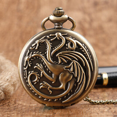 Antique Game of Thrones Quartz Pocket Watch House Targaryen Emblem Necklace