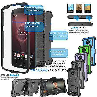 For Motorola Moto Z3 Play Clip Holster Case Cover With Built-in Screen Protector