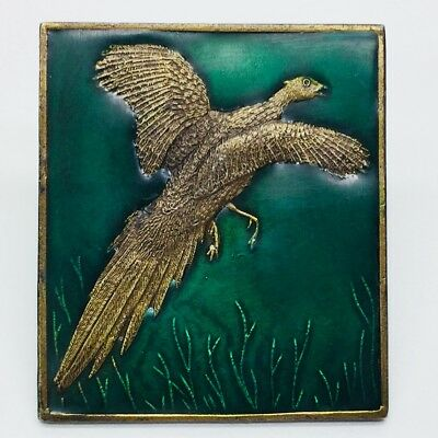 Vintage 1970's Brass & Green Cloisonne Belt Buckle Pheasant Bird Hunting