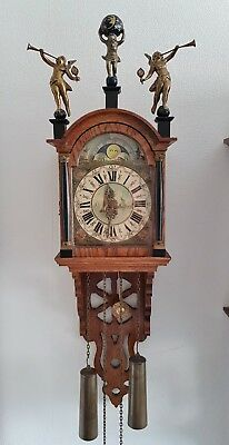 Warmink Wall Clock Dutch Schippertje Ships Clock Chain Driven Bell Oak Moon Dial