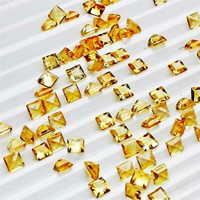 Wholesale Lot of 4mm Square Cut Natural Citrine Loose Calibrated Gemstone