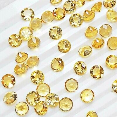 Wholesale Lot of 5mm Round Facet Cut Natural Citrine Loose Calibrated Gemstone