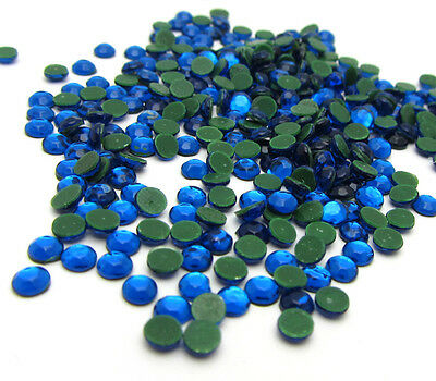 New 800pcs 3MM Loose Round Iron On Hotfix Crystal Rhinestones Dark Lake Blue