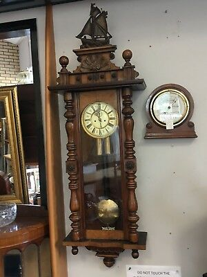Antique Carved Mahogany German Weighted Vienna Wall Clock With Key