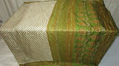 Cream Henna Pure Silk 4 yd Vintage Sari Saree Pattern Gift for Mother NR #98C19