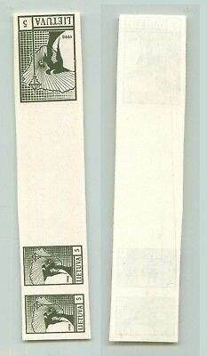Lithuania 1990 SC 371 MNH proof strip of 3 . f2702
