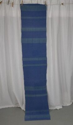vintage runner woven studio hand made blue green heavy cotton long 17 x 88 in.