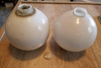 Lot Of Two Antique Milk Glass Ball Lightning Rod Weathervane Ball Globe Cracked