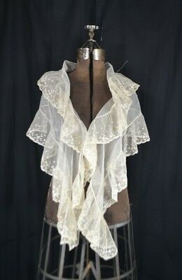 antique collar fichu bertha white lace shawl embroidered large 68 in. 1800