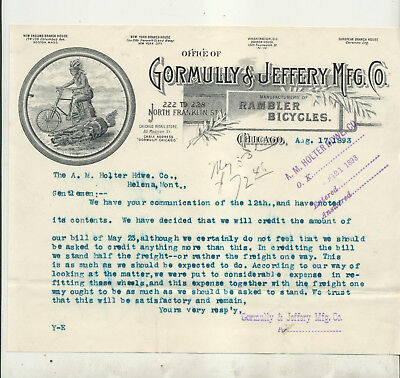 1893 Gormully & Jeffrey Manufacturing Co Rambler Bicycles Chicago Letterhead