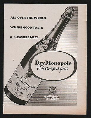1950s advertisement for DRY MONOPOLE Champagne good taste drink 1956 #