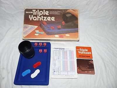 vintage Deluxe Triple Yahtzee Game Lowe MB 1978 Complete with Extra Score Sheets