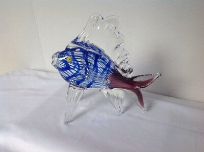 Italian Murano Art Glass Tropical Angel Fish Sculpture Millefiore Eyes 9""