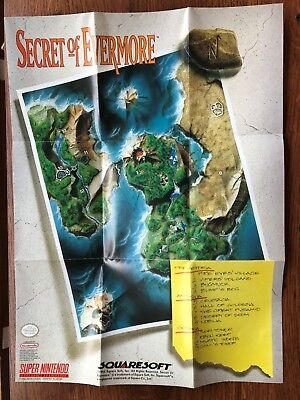 Secret of Evermore SNES Super Nintendo Poster Map Only