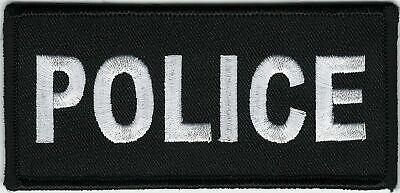 "2"" x 4 1/2"" Black White Police Cops Patch VELCRO® BRAND Hook Fastener Compatible"