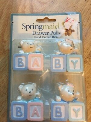 Springmaid Drawer Pulls Hand Painted Resin Baby Bear Letter Blocks Pink Blue 4