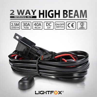 2 Way High Beam Wiring Loom Harness Relay Switch Kit 12V 40A Driving Light Bar