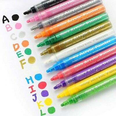 12Pcs Acrylic Paint Marker Pens - Water Based For Any SurfaceRock Glass Fabric