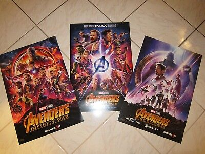 Marvel AVENGERS INFINITY WAR Lot Of 3 Originl Cinemark & IMAX Promo Mini Posters