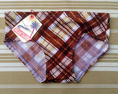 FRENCH 1970s BOY VINTAGE SWIMWEAR BRIEF - BROWN CHECK PRINT - NWT - 10 years