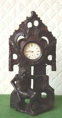 ANTIQUE POCKET WATCH STAND RARE BLACK FOREST CARVED NAKED OLD FATHER TIME c1870