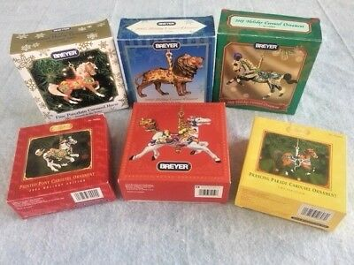 Set of 6 Breyer Carousel ornaments, Horses, Pony, Lion from 2000 to 2005. NIB!